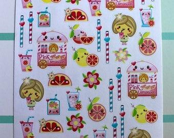 Kawaii Pink Lemonade Planner Sticker - Summer Planner Sticker, Summertime Stickers, Holiday