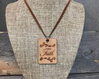 Faith Necklace, Laser Engraved, Group Gift Ideas, Group Discounts, Wedding Gifts, Laser Engraved, Bursting Barns Designs
