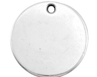DQ Gravurplättchen, blank pendant-1 piece-Antique silver-Zamak-Ø selectable (Ø:: 20 mm)