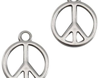 "DQ Metal pendant, charm ""peace""-1 piece-15 x 18.5 mm-Zamak-color selectable (color: silver)"