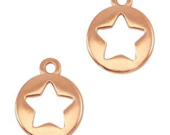 "DQ Metal pendant, charm ""Stern""-3 pcs.-12 x 10 mm-Zamak-color selectable (color: Gold)"