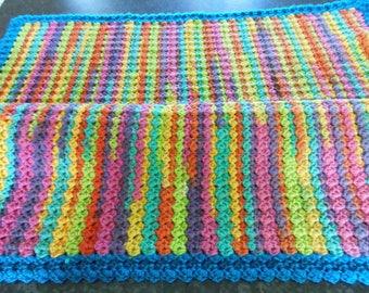 crochet half box stitch baby blanket/reversible/multi-colour/good size 27.5 ins (71 cm) square/easy care/soft/unisex/swaddle/cot/pram