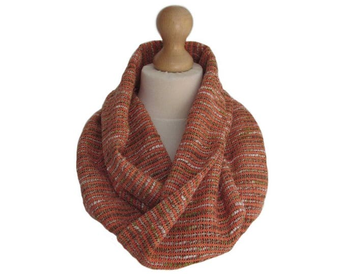 Linton Tweed Designer Cowl Neck Infinity Scarf in Orange, Beige and Cream