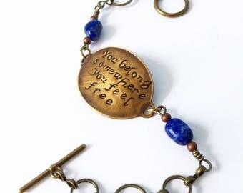 Tom Petty bracelet in bronze with lapis detail
