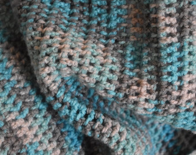 Featured listing image: Baby Blue, Gray, & White Gradient Crochet Baby Blanket