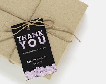 Thank You Tags   Printable thank you tags, favor tags, wedding card template, printable wedding party tag, favor tag, thank you card MD-02