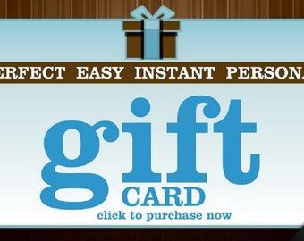 GIFT CARD 25/50/75/100 USD - Gift Certificate - Last Minute Gift - eGift Card - Blue World Treasures Gift Card - Print at Home - Custom Gift