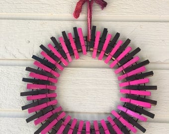 Hot Pink and Chocolate Wreath, Pink and Brown Clothespin Wreath, college gifts, graduation gift, front door decoration, dorm room gift
