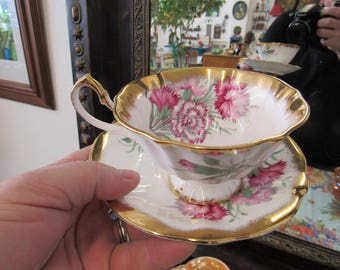 Crown Ann Bone China Cup and Saucer England Carnations