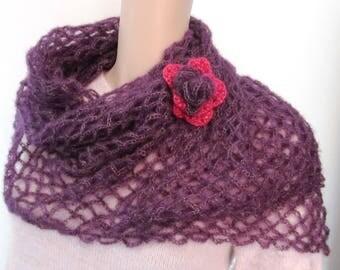 Bohemian scarf mohair and silk flower brooch