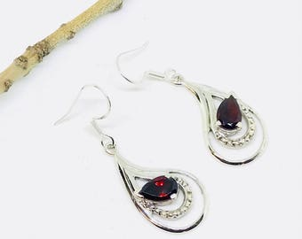 Garnet earrings set in sterling silver (92.5). Genuine natural garnet stones. Perfectly matched.