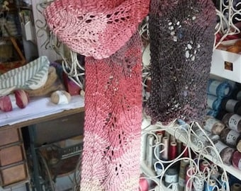 Ombre cotton knit lace scarf