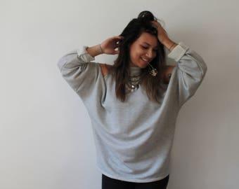 Sweat Peekaboo sleeves oversize - M size only, Beige / grey