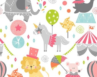 Calliope Step Right Up in pink by Blend Fabrics, Circus print fabric by the yard, Girls Circus print quilting cotton,  kids Birthday fabric