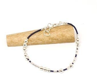 Morse code bracelet - I love you - sterling silver and leather - hidden message bracelet