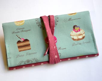 """Handmade """"Macarons & Cupcakes"""" Linen Fabric Tobacco Pouch   Women Tobacco Pouch   Smoking Accessories Tobacco Pouch Gift Rolling Tobacco Bag"""