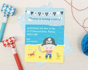 Personalised Boy's Pirate Party Invitations -- Minimum order 8