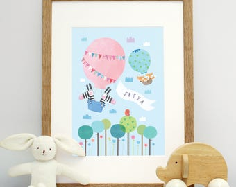 Personalised Hot Air Balloons and Animal Mounted Print