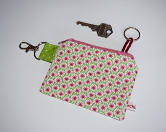 Key case rosa-green retro flowers