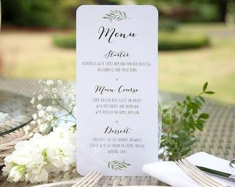 Rustic Green Leaf Watercolour Table Menu