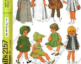 "Wardrobe Pattern for Petite Baby and Toddler Dolls 8-1/2"" to 10"" tall"