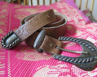 Belt Leather Brown vintage small women Brown belt small castle