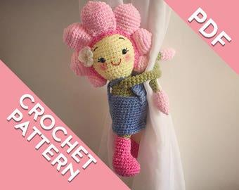 Flower curtain tie back crochet PATTERN, tieback, left or right side crochet pattern PDF instant download amigurumi PATTERN