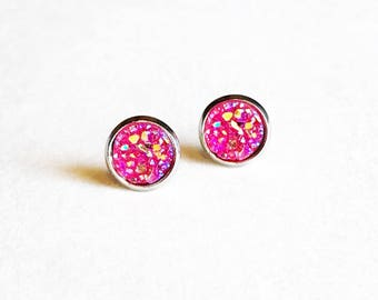 HYPOALLERGENIC EARRINGS Faux Druzy Earrings 8mm SMALL (Surgical Stainless Steel) - Hot Pink