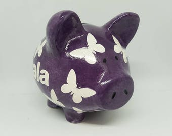 Handmade Personalised Star / Butterfly / Spots Design Ceramic Piggy Money Bank Various Sizes and Colours Available