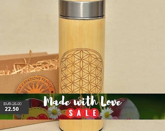 Original Bamboo Thermos Wooden Flask 380 ml Engraved Wood FLOWER OF LIFE Stainless Steel with Screw Lid