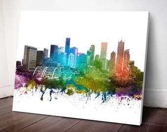 Denver Skyline Canvas Print, Denver Cityscape, Denver Art Print, Home Decor, Gift Idea, USCODE01C