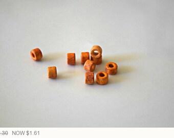 ON SALE Tang Mykonos Ceramic Mini Tube Beads Orange Matte Ceramic Beads Tang Orange Mykonos Tube Beads Tang Beads 6x4mm (20 pcs) 11V11