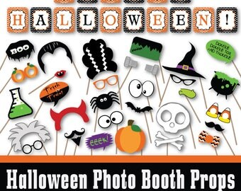 Halloween Photo Booth Props and Decorations - Printable Props and Banner - Over 40 Images in Full Color and Outlines - Digital Download