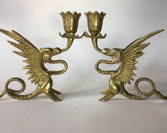 Winged Griffen Brass Candlesticks