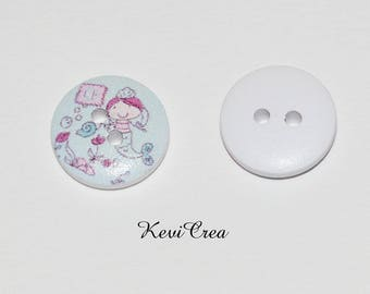 5 x white Mermaid 15mm wooden buttons