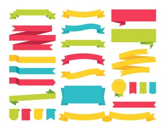 Banners & Ribbons / Vector and PNG / Colorful Clipart Flag Labels Red Blue Green Yellow Illustrations Scrapbook Elements / Digital Download