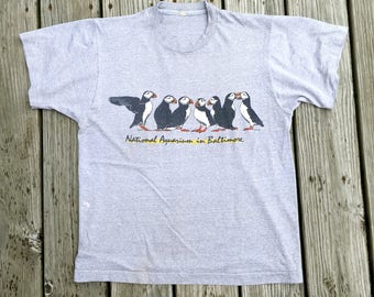 Vtg Graphic T-shirt Baltimore Aquarium Penguin