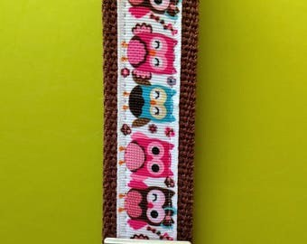 Pink & Brown Owl Keychain