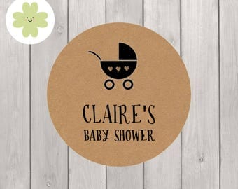 Personalised baby shower stickers on kraft paper ideal for invites, gifts and celebration labels