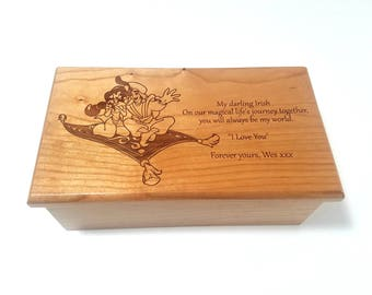 Personalized Arabian Music Box, Childrens Music Box, Jasmine Music Box, Aladdin Jewelry Box