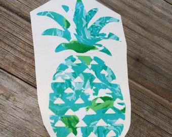 Lilly Pulitzer Blue Pineapple Vinyl Decal, Vinyl Stickers, Laptop Sticker, Car Decal, Pineapple Sticker, First Impressions Green