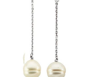 14K White Or Yellow Gold Freshwater Cultured Earrings- Pink, White, Or Black Pearl