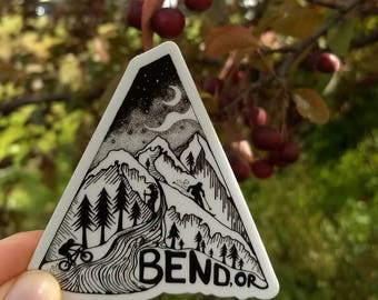 "Bend, Oregon 3"" Biking,Skiing Weatherproof and durable, Outdoor sticker, Travel sticker, Wanderlust, Mountains, Moon, stars"