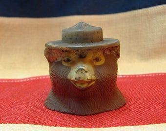 Smokey The Bear - SNUFFIT 1940's AD - Cigarette Ashtray Smokey Head