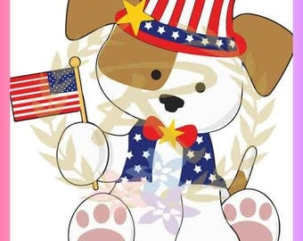 Memorial Day, 4th of July, Puppy, Flag, SVG