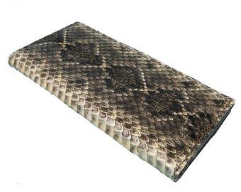 Real Rattlesnake Skin Wallet: Bifold (598-W301)