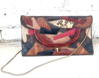 Vintag 70s Patchwork clutch, Snake skin, Leather, Suede, Boho Clutch