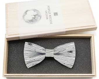Wood grain White Bowtie -Graduation Gift, Toddler Bowtie , Wedding Ties, Groomsmen bow tie, Pre Tied and Adjustable Novioshk, H0001
