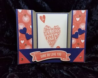 Stampin Up You're my Valentine Every Single Day Valentine Card, Hand Crafted Card