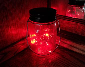 Hanging Mason Jar Solar Light   Set Of 2 Clear Jars With Red Fairy Lights,